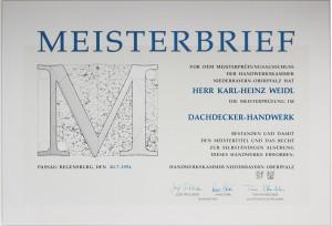 Meisterbrief Karl-Heinz Weidl