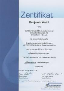 Zertifikat Grundierungen